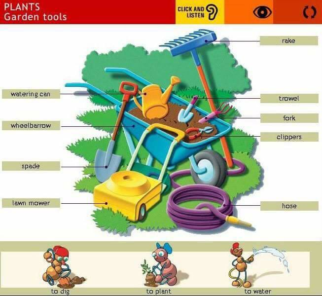 The garden vocabulary materials for learning english for Gardening tools list pdf