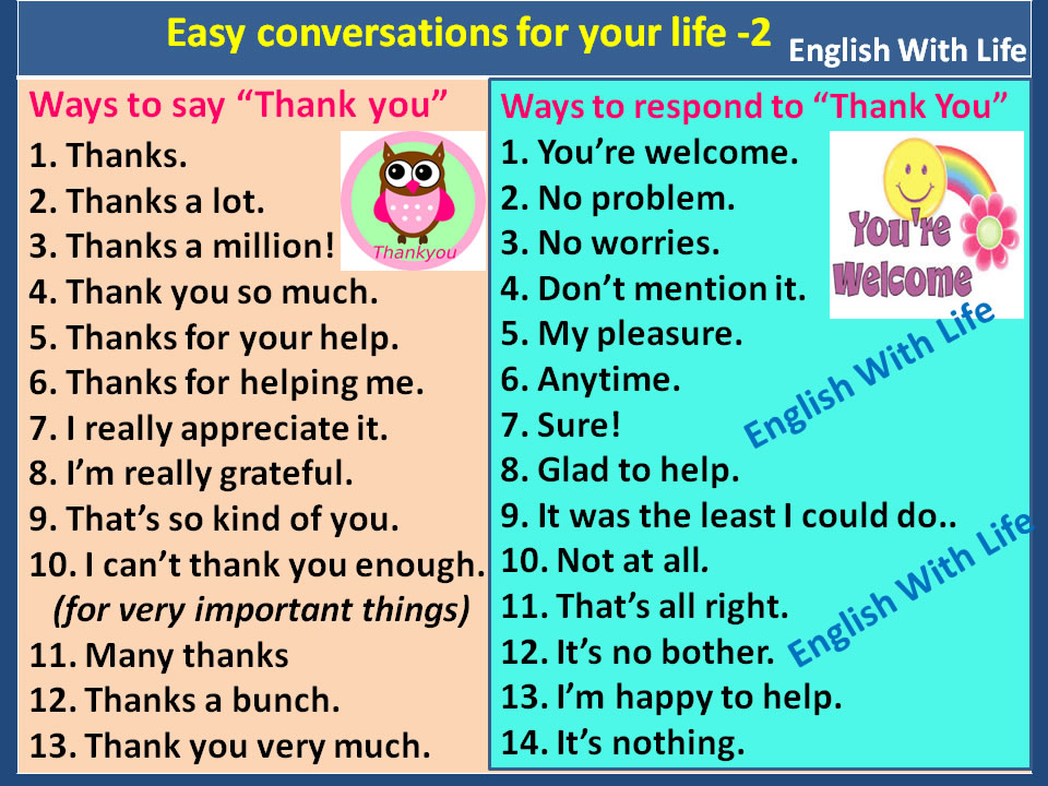 Ways To Say Thank You And Respond Materials For Learning