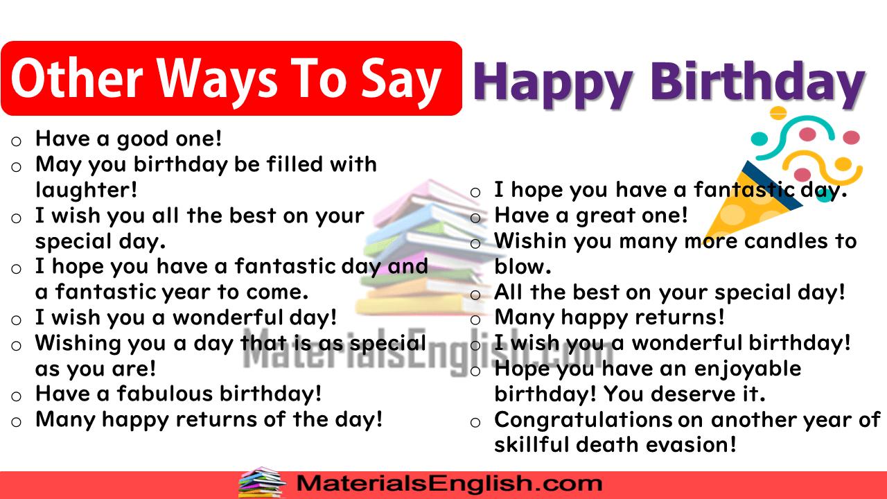 Different Ways To Say Happy Birthday