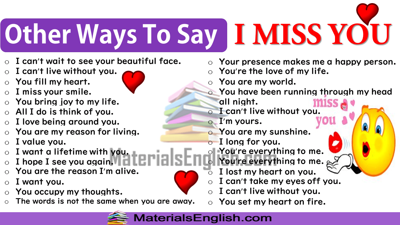 Other Ways To Say I MISS YOU in English