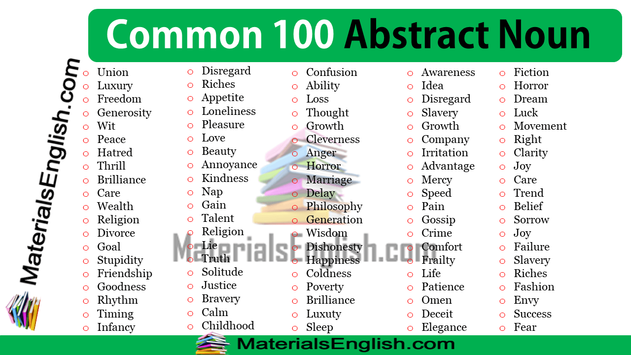 Common 100 Abstract Noun in English
