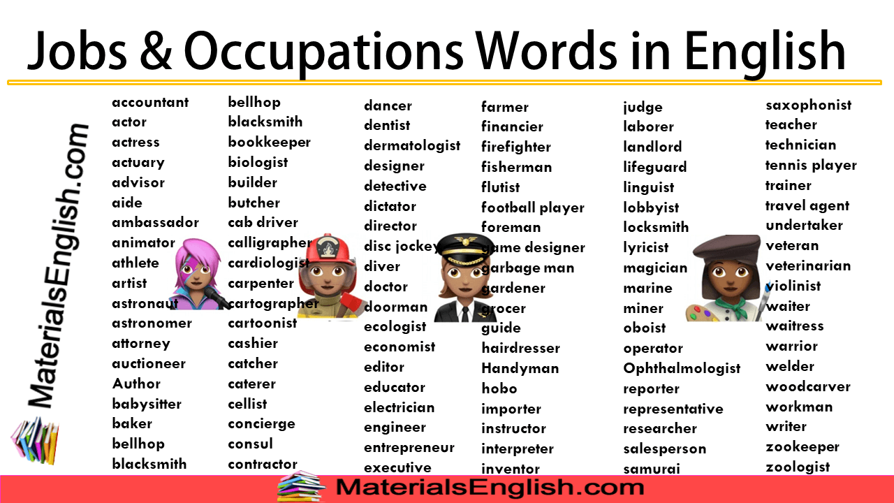 Jobs & Occupations Words in English