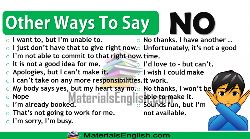 Other Ways To Say NO in English