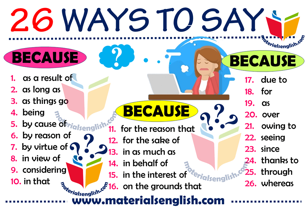 26 Ways to Say BECAUSE in English