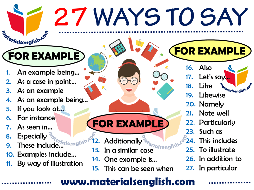 27 ways to say for example in english