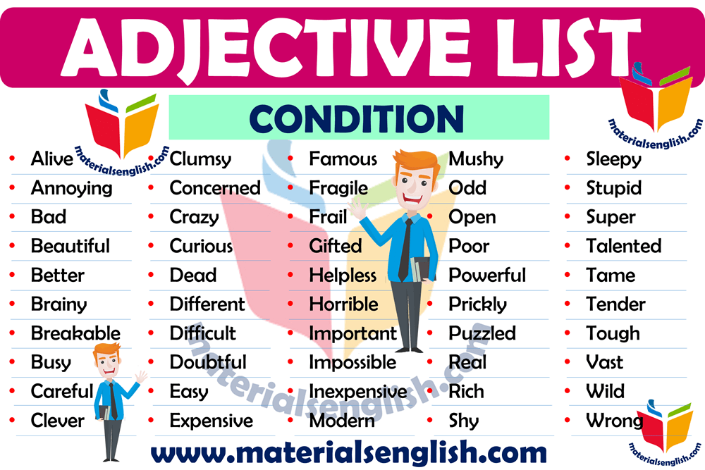 Condition Adjectives List in English