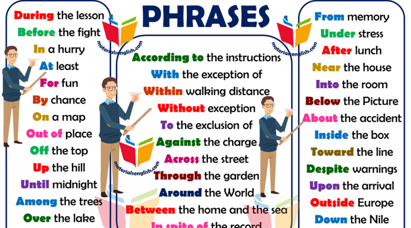 common prepositional phrases in english
