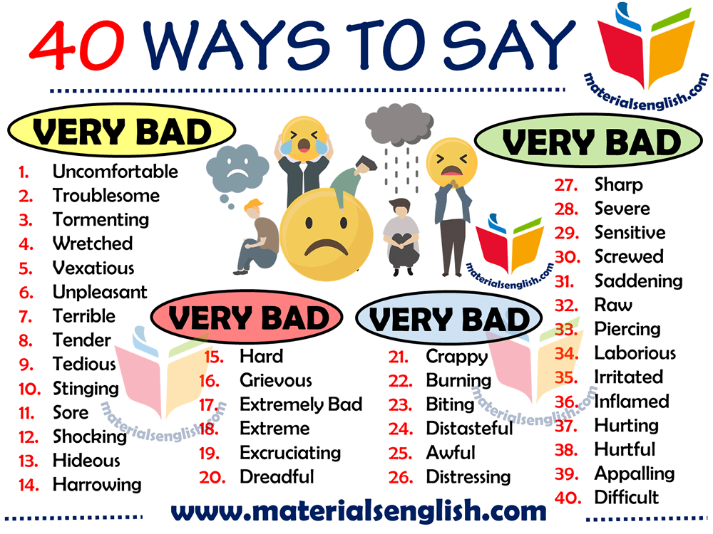 Other Ways to Say VERY BAD in English