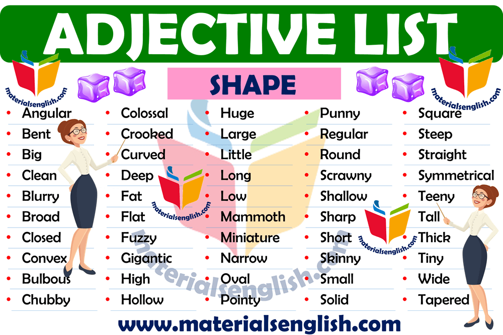 shape adjective list in english