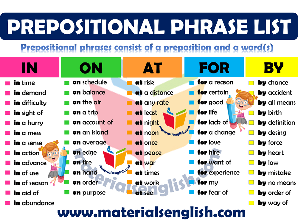 prepositional phrases list in english